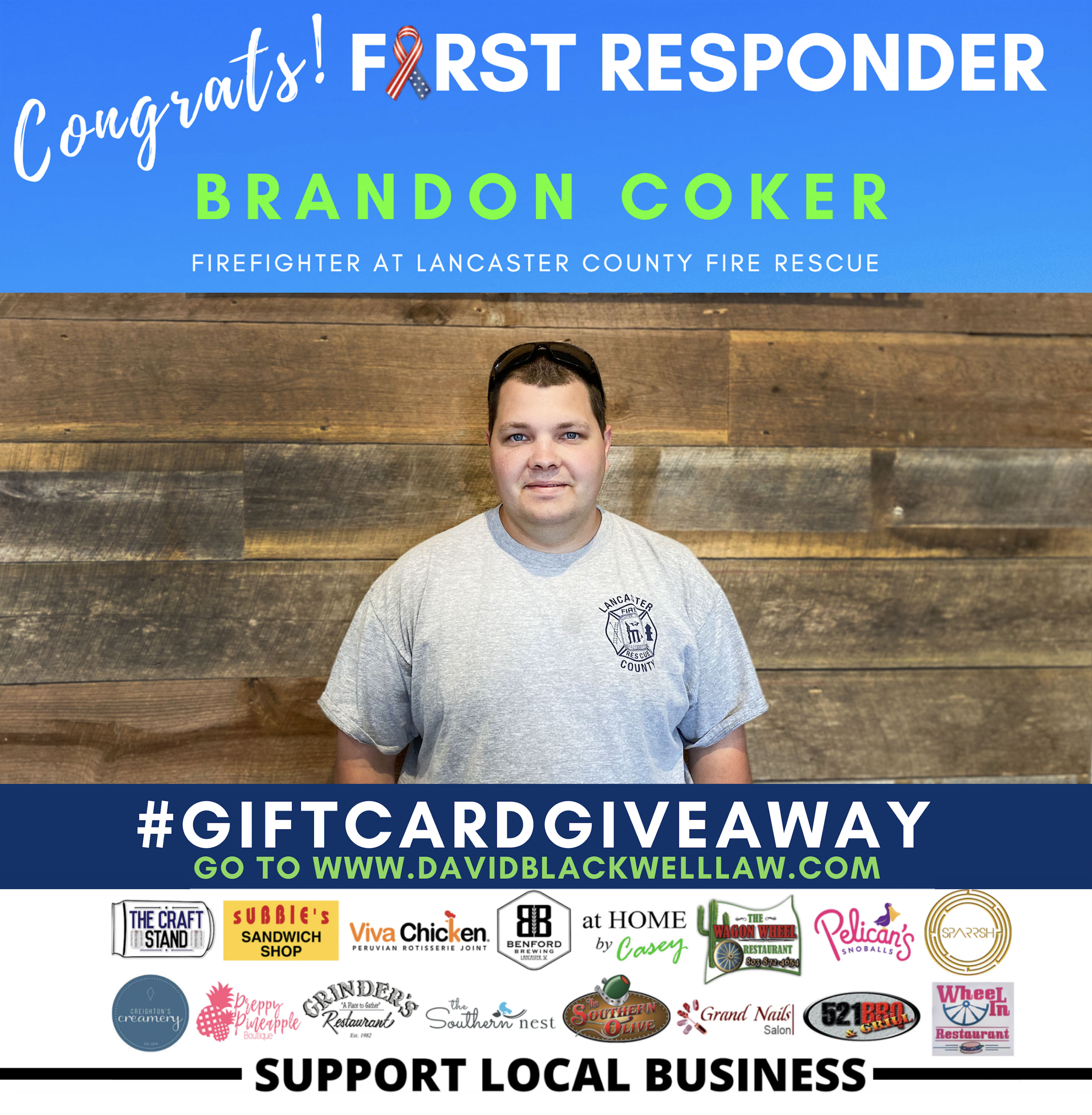 Brandon Coker - Winner Week 2 - First Responder Giveaway - David Blackwell Law